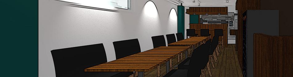 通常はテーブル席12席、カウンター席3席です。